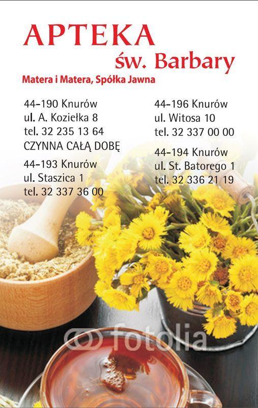 okładka kalendarza z danymi kontaktowymi apteki 11
