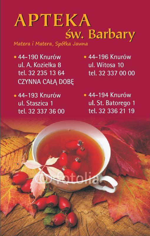 okładka kalendarza z danymi kontaktowymi apteki 14