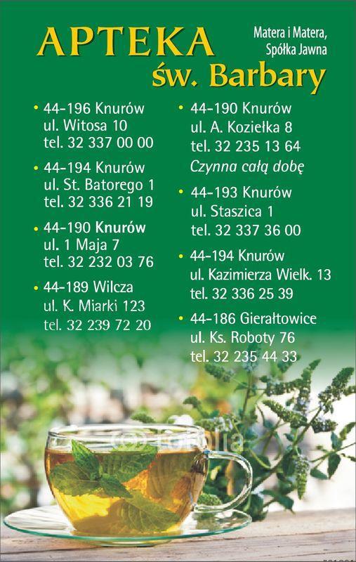 okładka kalendarza z danymi kontaktowymi apteki 9