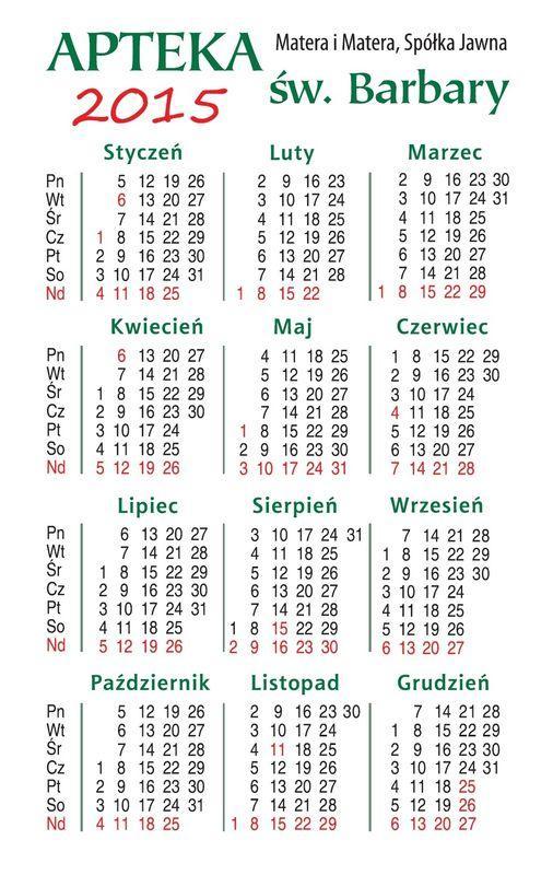 Kalendarz 2015 apteka św Barbary